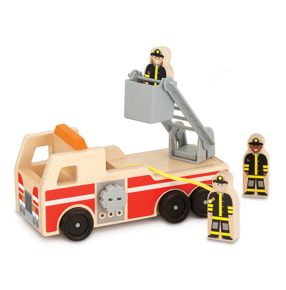 Wooden Fire Truck Play Set