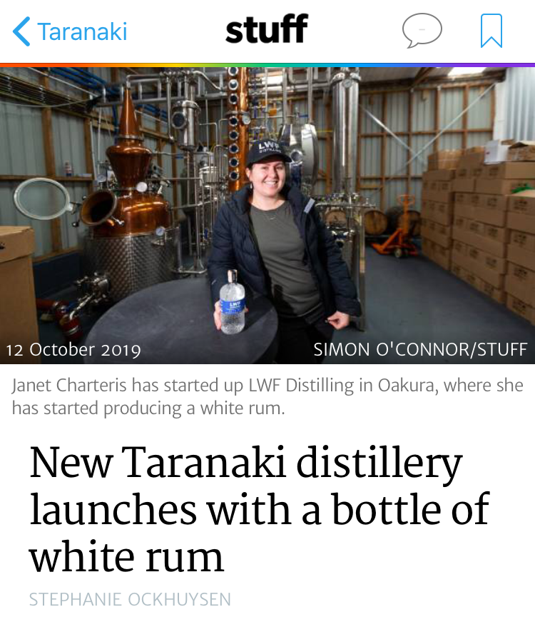 Taranaki news article on Distillery