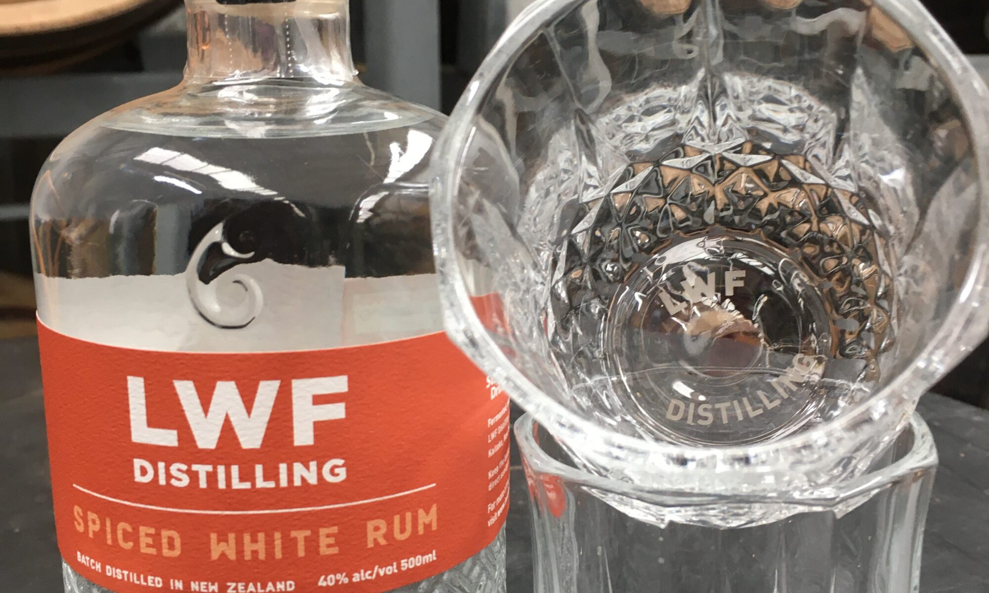 Spiced white Rum with glasses