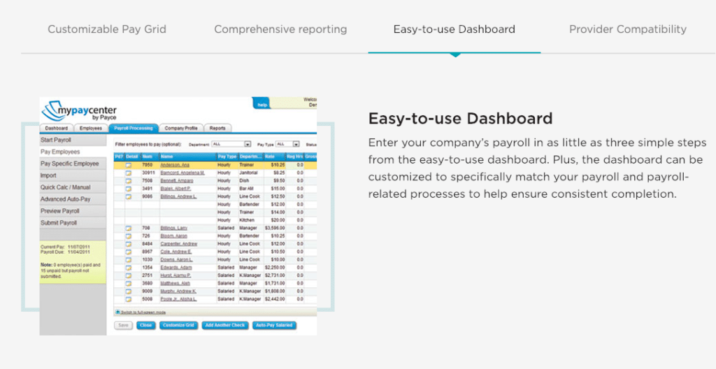 Deluxe Payroll dashboard