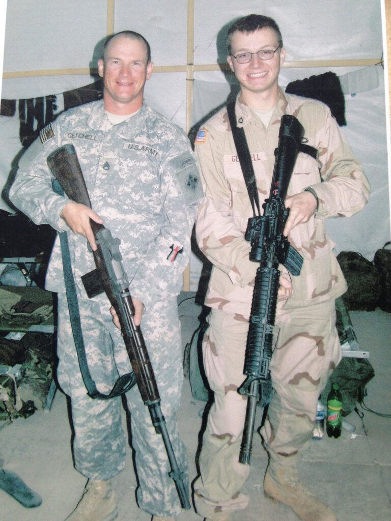 My oldest son, James and I about to enter Iraq '05