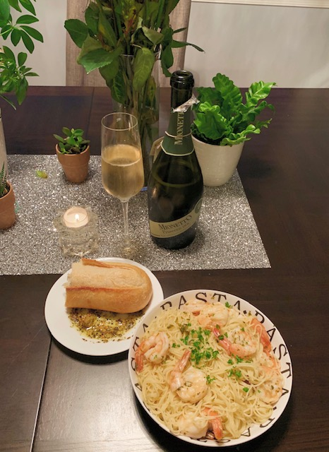 Nothing better than shrimp scampi, crusty bread and champagne.