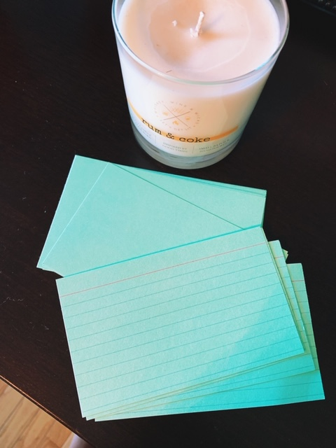 Index cards for meal planning