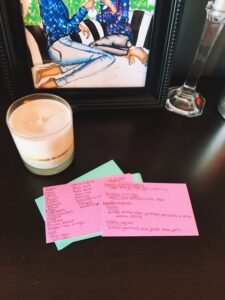 Meal planning index cards and grocery list