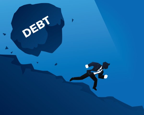 Avoiding High Risk Debt Snowball Effect Creative Businessman Illustration Concept