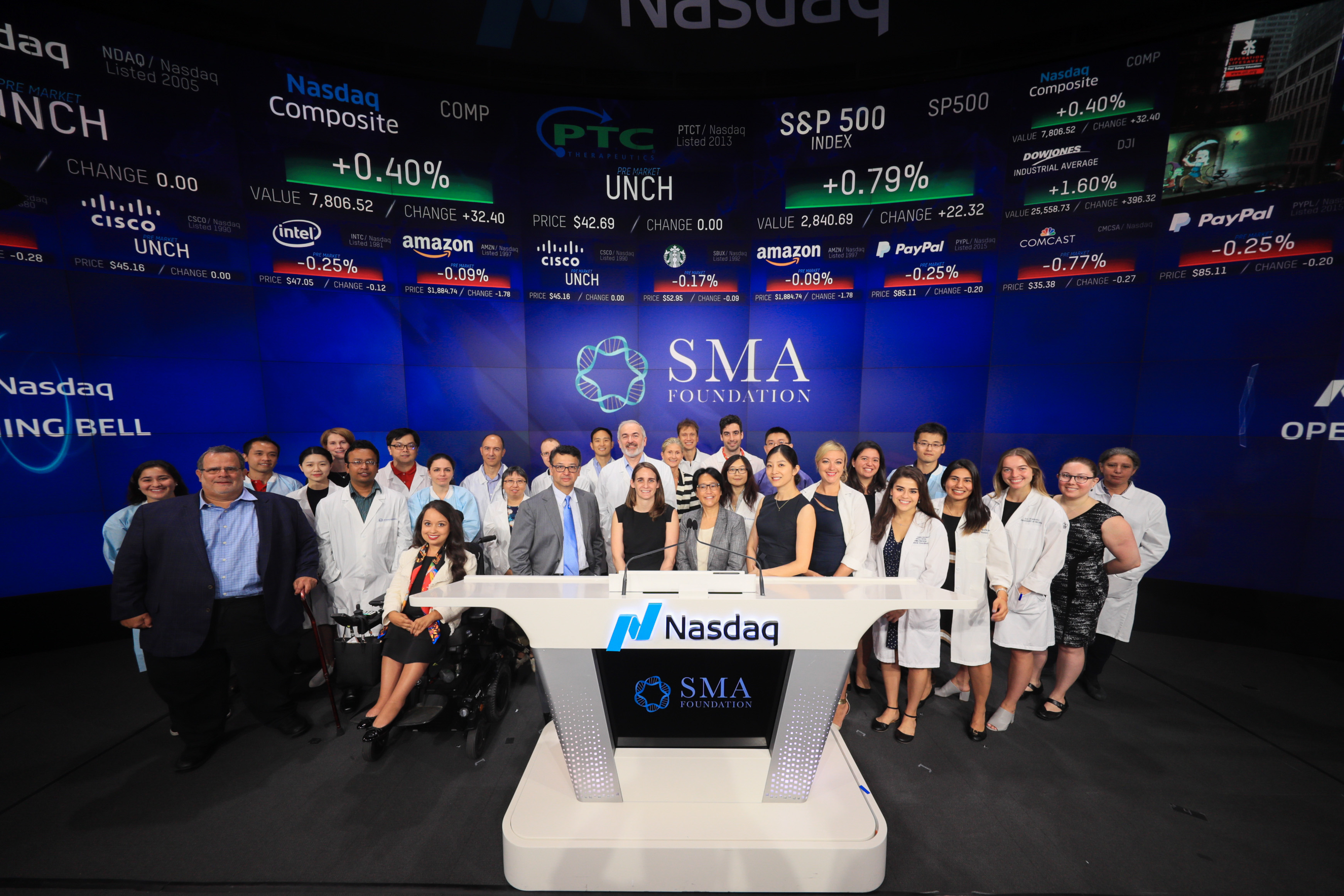 The Spinal Muscular Atrophy Foundation rings Nasdaq opening bell