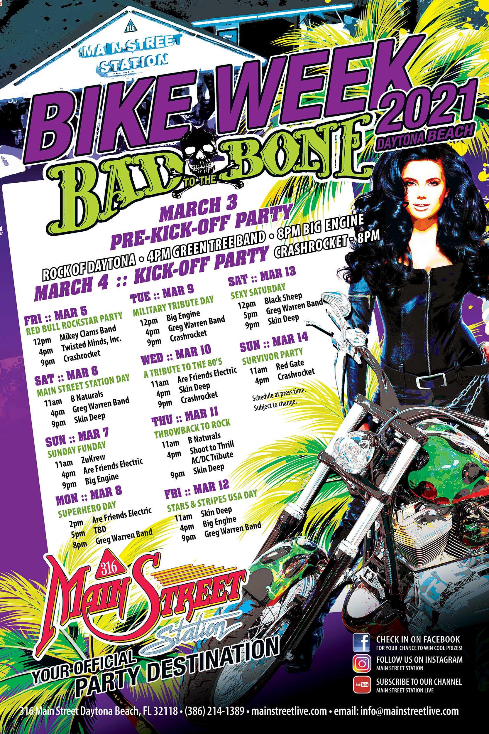 bike week daytona beach 2021 live music 316 main street station