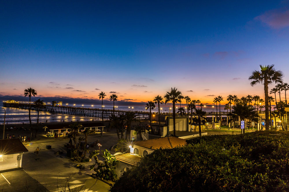 Seaport village sunset view in San Diego.