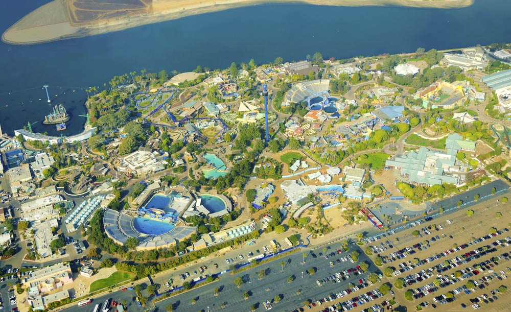 Aerial view of Sea World just 13 minutes from bed and breakfast.