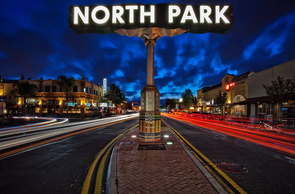 Then North Park sign welcoming visitors to this trendy neighborhood in San Diego.