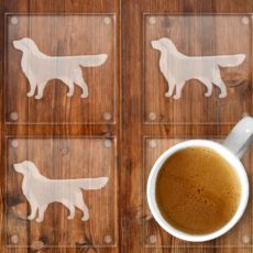 Golden Retriever Etched Glass Coaster