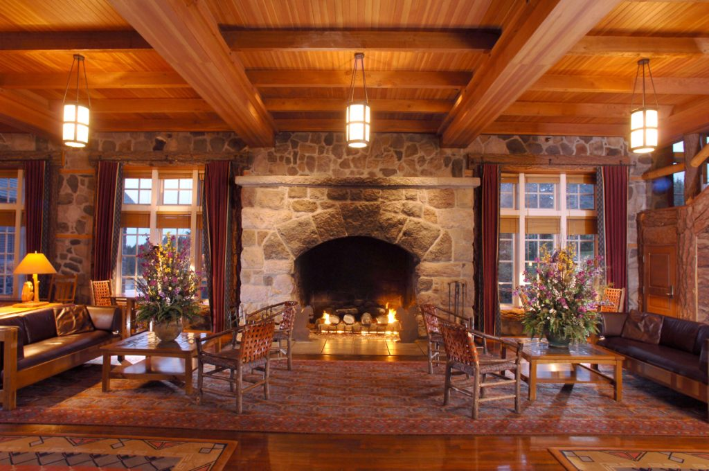 lodge lobby fireplace