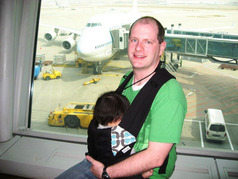 Waiting for flight with Daddy
