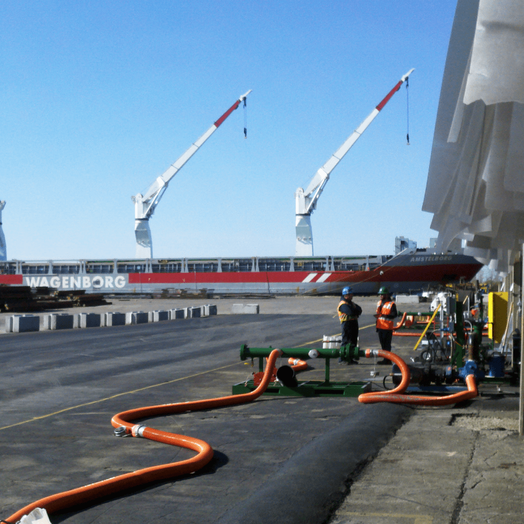 Transloading off of ship to rail