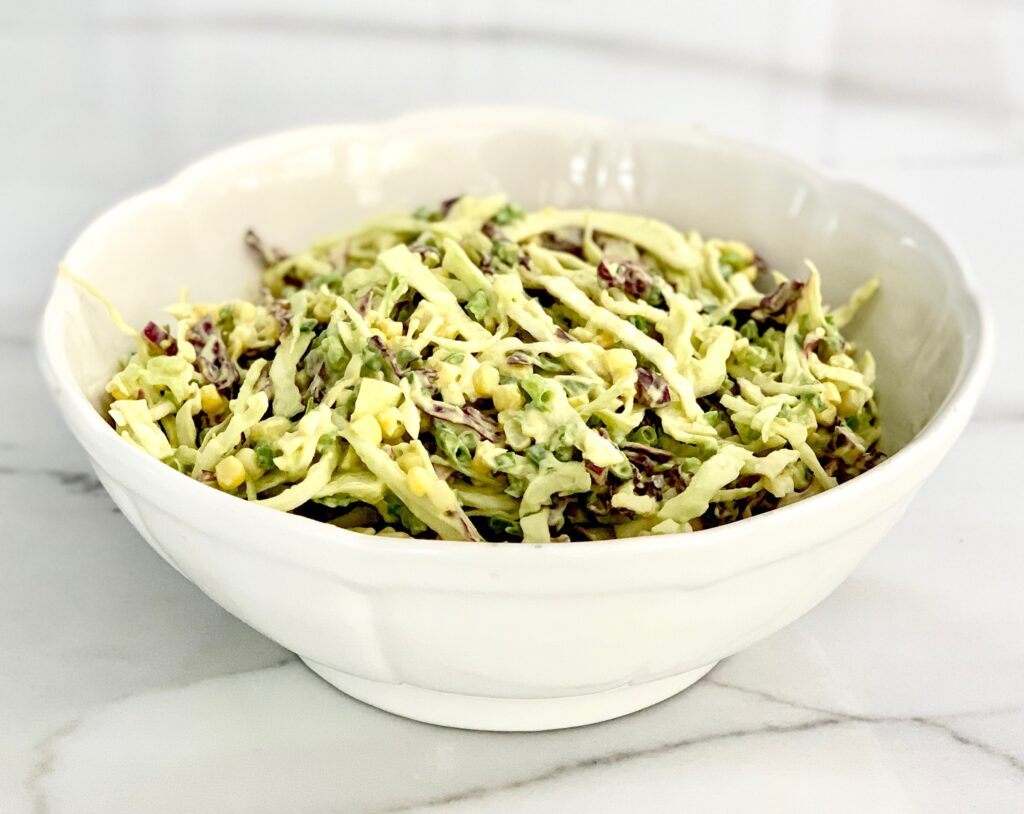 Southwestern Cole Slaw with corn, avocado and jalapeno peppers.