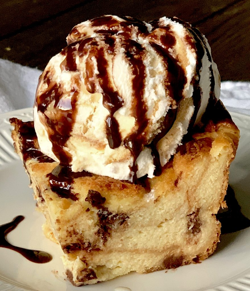 Chocolate Chip Bread Pudding with Salted Caramel Ice Cream