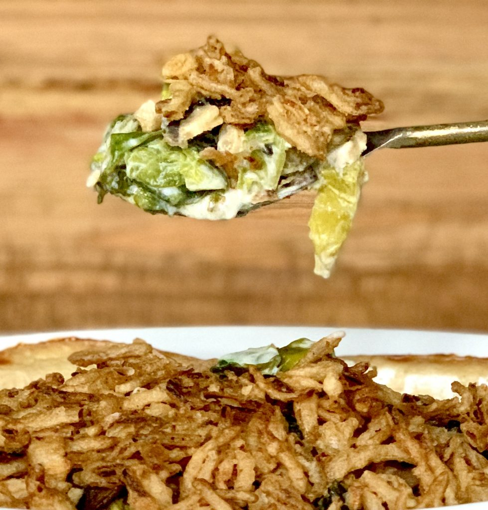 Brussels Sprouts Casserole with Mushrooms, Thyme and Crispy Onions