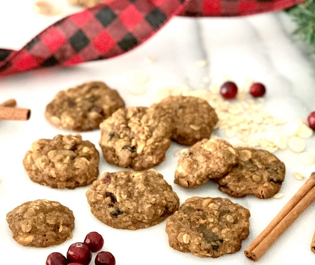 Chewy Oatmeal Cranberry Cookies with White Chocolate