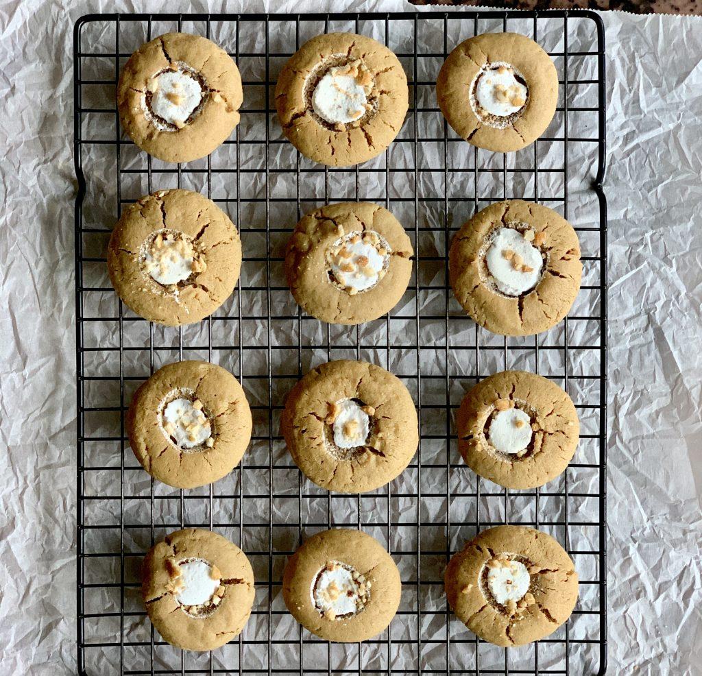 Fluffernutter Thumbprint Cookies