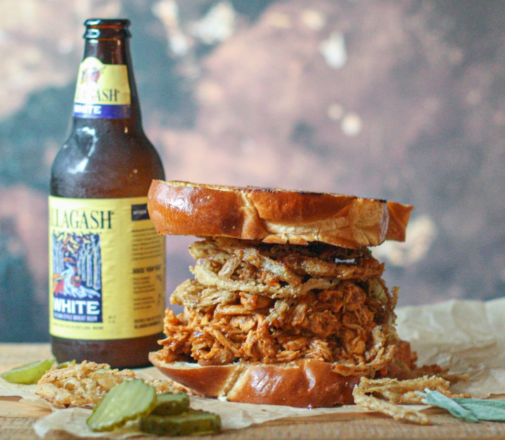Hot Honey BBQ Chicken Sandwiches with Crispy Onion Strings