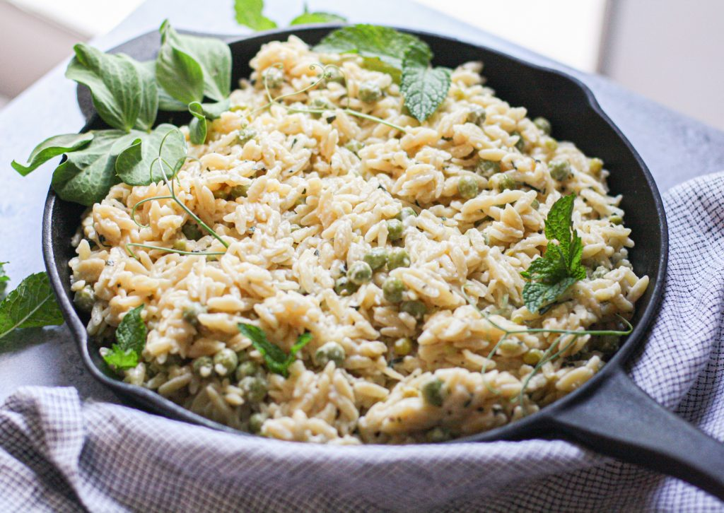 Creamy Orzo & English Peas