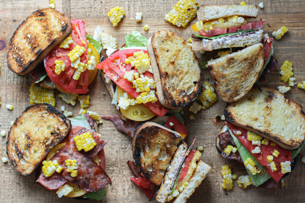 Heirloom Tomato BLTs with Roasted Garlic Mayo