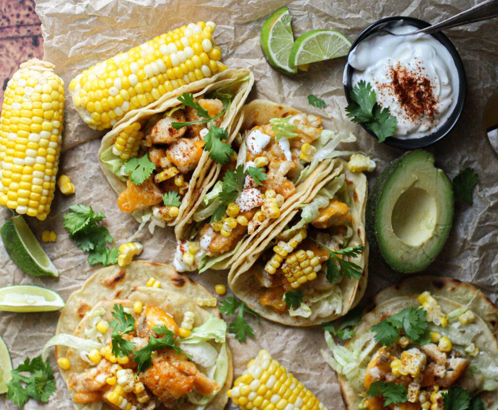 Baja Fish Tacos with Chili Crema
