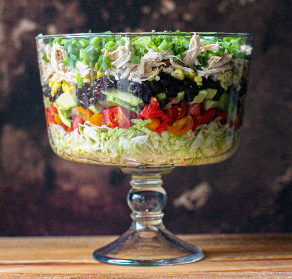 Layered Southwestern Salad with Avocado Lime Ranch Dressing