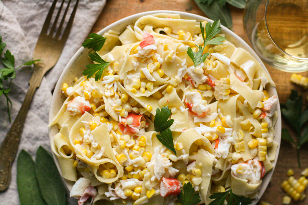 Crab & Corn Pasta with Sherry Cream Sauce