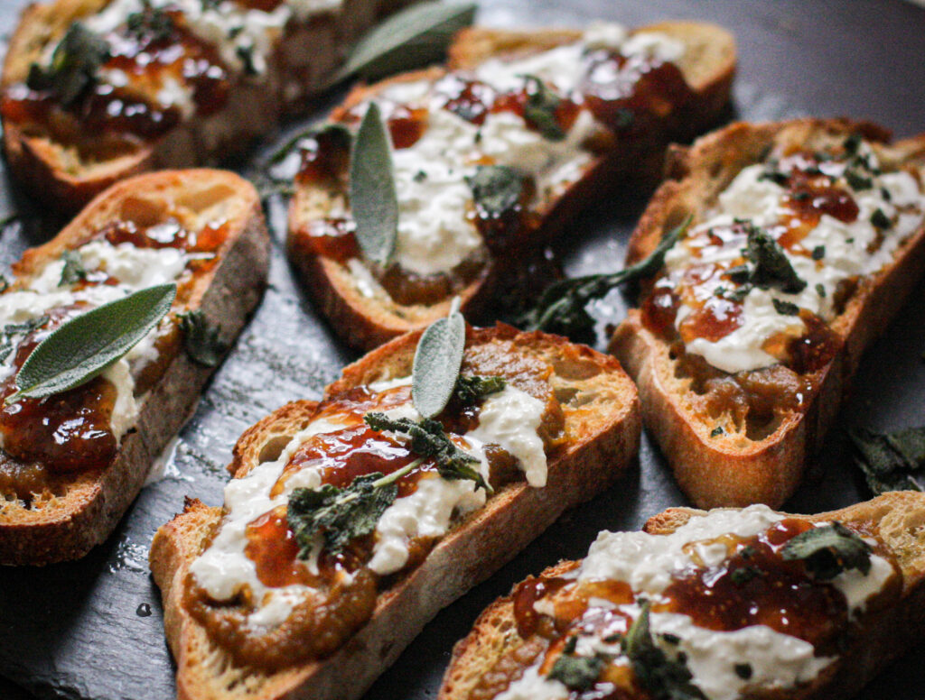 Pumpkin Burrata Toasts w/ Fig & Crispy Sage