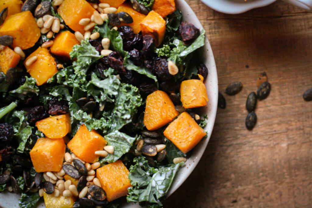 Butternut Squash & Kale Salad w/ Chipotle Ranch Dressing