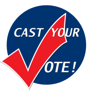 Cast your Vote! written inside a circle - the V in Vote makes a checkmark, like a vote