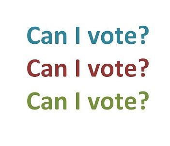 Can I vote? written three times