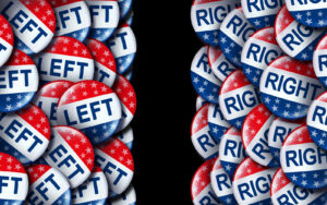 "Pile of red white and blue buttons, split into two sides, right and left - buttons on the right read ""right"" and buttons on the left read ""left"""
