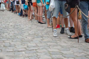 Feet in a long waiting line