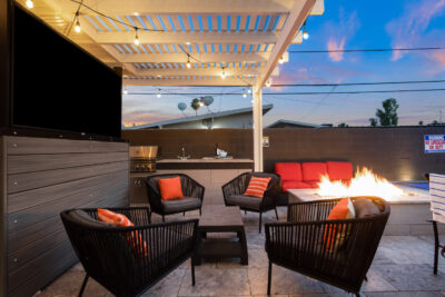 Fire, Grill, Large Screen TV