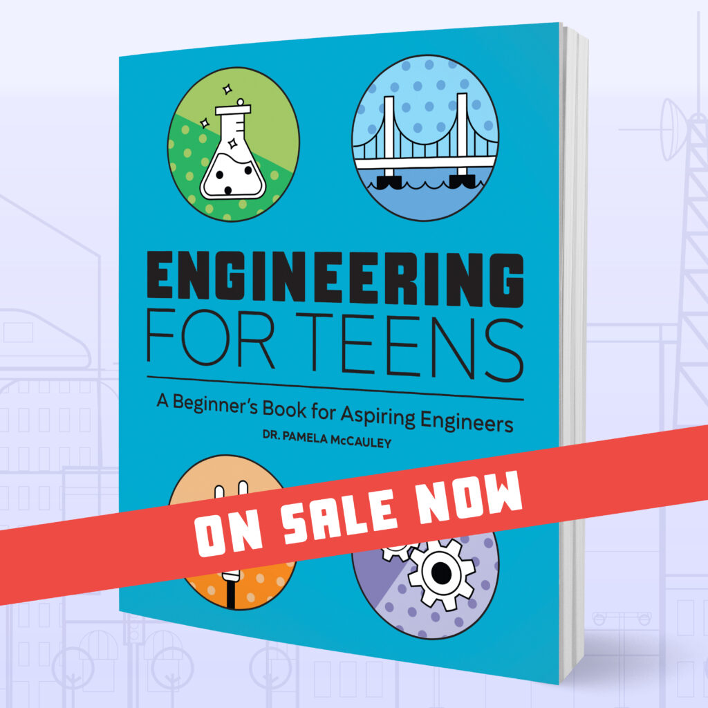 engineering for teens blue book with red ribbon that says on sale now