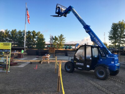 OHR Rents telehandler and American flag