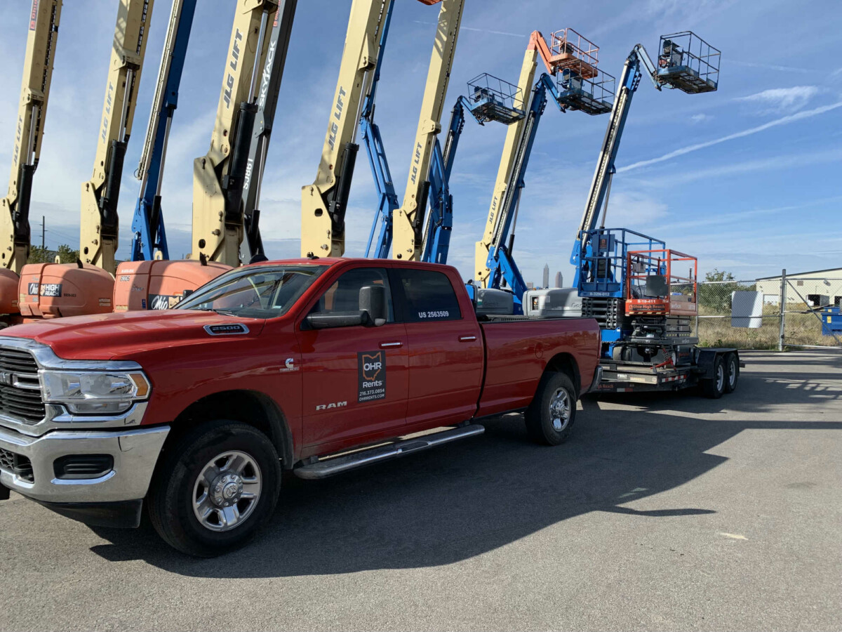 ohr rents lift rental cleveland ohio red truck