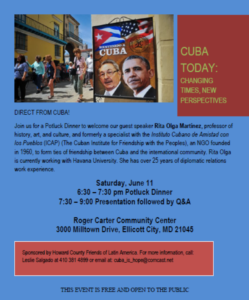 June 11 Ellicott City Maryland: Potluck dinner to welcome Cuban historian Rita Olga Martinez