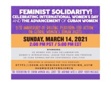 March 14: Feminist Solidarity! Celebrating International Women's Day and the advancement of Cuban women