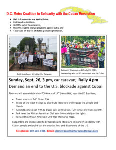 Sept 26 - Washington DC @ assemble in the 4700 block of 14th Street NW, near the DC Bus Barn