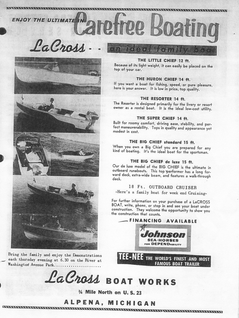 1957 LaCross Boat Works ad