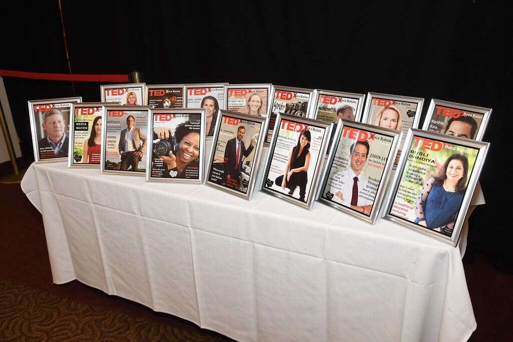 Tedx Boca Raton - table of speaker pictures