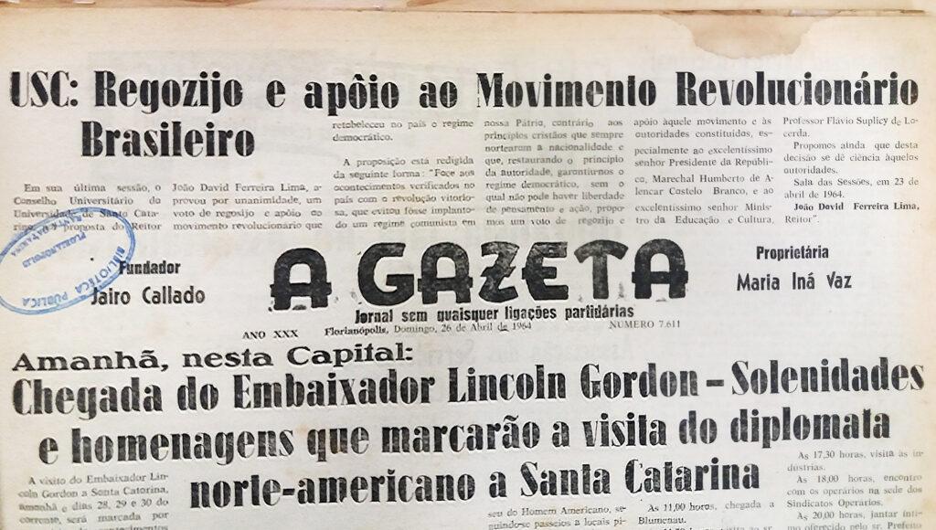 Primeira página do jornal A Gazeta, de 26 de abril de 1964