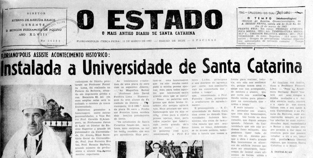 Primeira página do jornal O Estado de 13 de março de 1962
