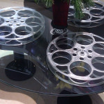 decorative round coffee table made with three 35mm film reels