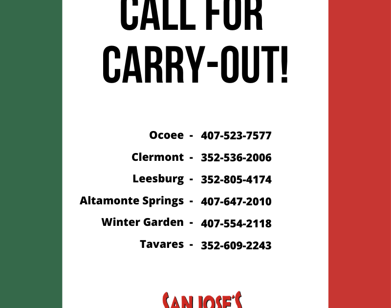 San Joses Carry Out Numbers