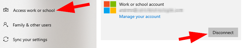 Disconnect email account in Windows 10