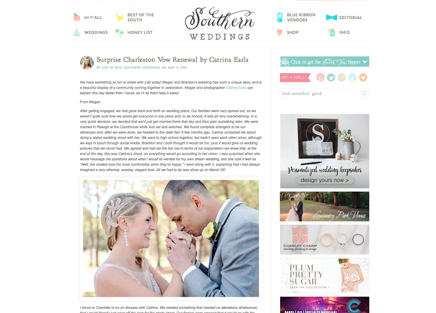 A screenshot of the surprise wedding vow renewal featured on Southern Weddings.